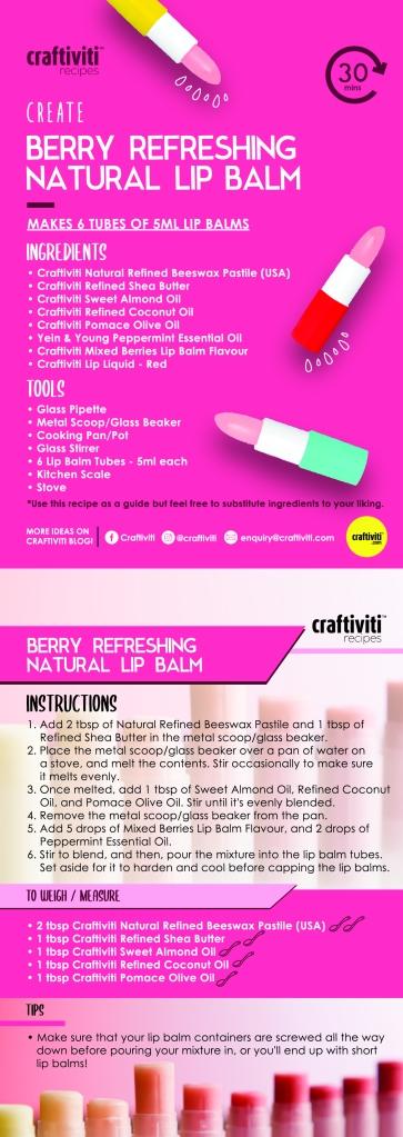 Craftiviti Recipe DIY Instructions 2-Berry Refreshing Natural Lip Balm