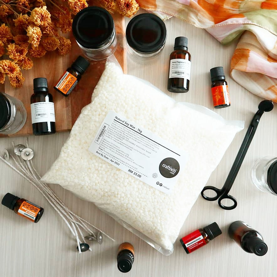 Craftiviti Candle making materials - soywax wicks essential oils